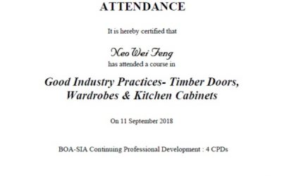 BCA Good Industry Practise – Timber Doors, Wardrobes & Kitchen Cabinets